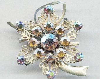AMETHYST Glass Stone In Gold Tone Open Work Flower