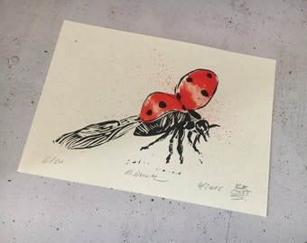 Lucky - ladybug, original print