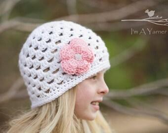 Girls Hat, Kids Hat, Crochet Beanie, Child Hat, Crochet Hats, Hats for Kids, White Hat, White Beanie, Children's Hat, Kids Fashion, Baby Hat