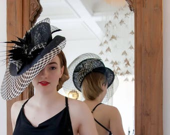 Black and Ivory Sinamay Open Weave Straw Fascinator hat with Black Feathers / Fascinator includes a luxury white wooden hat box.