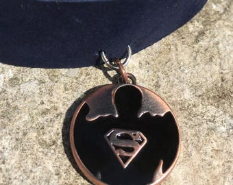 Leather Choker - Superman Silhouette