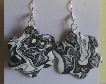 Handmade polymer clay - mokume gane - earrings