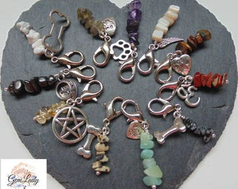 Pet Collar Clip On Charm Chip Bead Beaded ~ Gemstone Crystal Healing ~ Handmade To Order