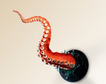Tentacle porthole wall sculpture with splash, extra large