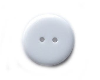 10 Large White Buttons 22mm