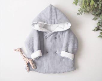 "Baby réversible ""Lutin"" jacket, Elephant, made in France, kimono sleeve, Double gauze"