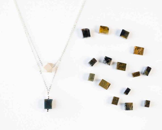 Layered Gemstone Drop Diffuser Necklace (Silver)