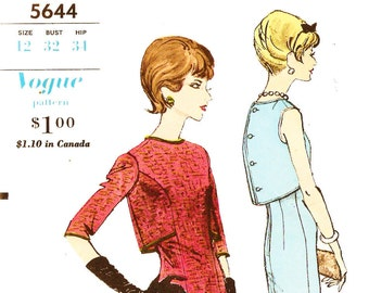 Vogue 5644 Vintage 1960s Young Fashionalbles Sheath Dress with Fauxlero and Sleeve Options Size 12