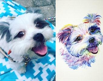 Custom Dog portrait Custom Dog Painting Custom Pet portrait Watercolor Painting Original Painting Colorful watercolor Multicolored Rainbow