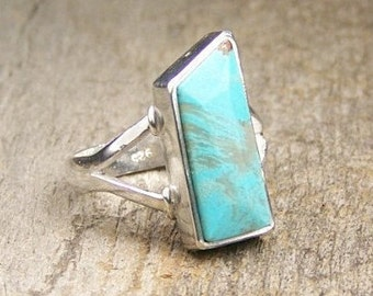 Kingman Turquoise Sterling Silver Ring US 7 3/4 Ready to Ship