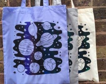 Space Tote bag, Planets Hand Printed Cotton Tote Bag - Canvas Shopping bag, cotton bag, reusable bag, Screen Print, Solar Systembag