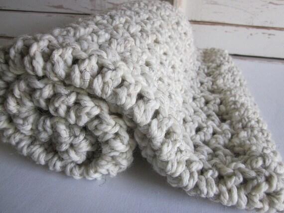 Baby blanket ~ chunky soft wool blend ~ Beach Sand
