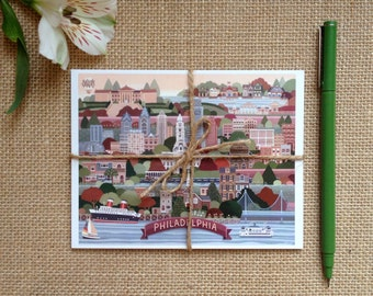 Philadelphia Postcard Set, Map of Philadelphia Postcards, Set of 6