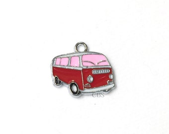 1-5 Pink & red Hippy Bus or Van. Enameled colored front with smooth back. Nice quality. Peace love happiness groovy baby!