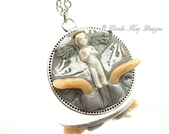 Letting Go Angel Necklace Frozen Charlotte Tiny Charlotte Doll Heart Pendant Lorelie Kay Original