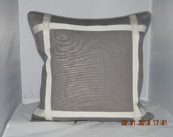 Grey Linen with Ivory Trim