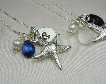 Beach Bridesmaid Gift Initial Necklace Personalized Necklace Bridesmaid Jewelry Starfish Necklace Bridesmaid Necklace Beach Wedding Jewelry
