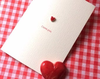 Handmade Ceramic Heart Valentine Love Card