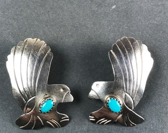 Vintage Sterling Silver Turquoise Bird Eagle Statement Earrings