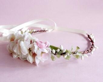 Ivory Roses Floral Crown. bridal flower crown, Bohemian. Ivory and Pink. Woodland. Rustic. Spring, Flower Crown, Bridal, Hair Accessories