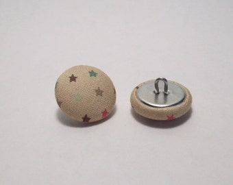6 covered buttons in beige fabric with stars 21mm