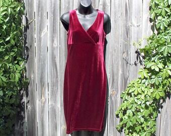 Medium Vintage 90s Stretchy Maroon Velvet Dress - 90s 579 Dress - Sleeveless Burgundy Velvet Dress - Slinky Red Velvet Dress