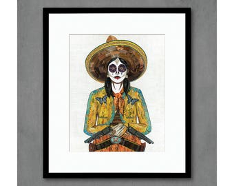 Cowgirl with Butterfly Jacket Art Print