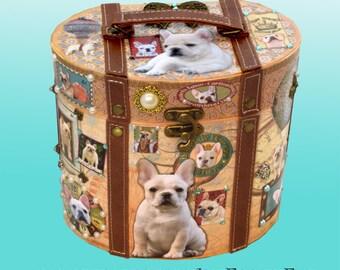 Embellished Parisian Box Decoupaged Cream White Fawn French Bulldogs-Hand Decorated Custom Made Jewelry-Keepsake-Memorial Art Gift Dog