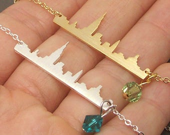 New York Skyline Necklace, New york necklace, personalized birthstone necklace,skyline necklace,cityscape necklace, landscape necklace NB689