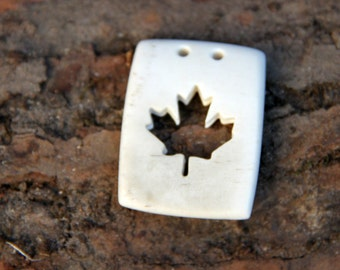 SALE Carved Maple leaf pendant / hand carved maple leaf pendant / bone pendant / Toronto Maple Leafs / maple leaf necklace / Canada 150