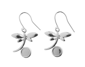 Silver Plated Dragonfly Ear drops with 6mm Cup