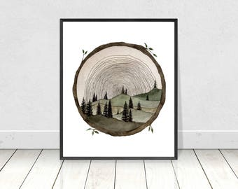 Circle Wood Slice Watercolor Painting Art Print- Tree Ring Art- Tree Stump Wood Slice Wall Art- Trees And Hills Painting- Tree Slice Artwork