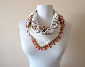 Traditional Turkish Scarf, White Pink  Floral Scarf, Cotton Oya Scarf, Yemeni Scarf, Flowered Scarf, Crochet Flowers, Handmade Lace Work