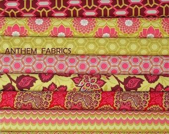 Joel Dewberry Heirloom fabric : fat quarter set of 9, Ruby Red palette