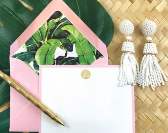 PALM BEACH CHIC, Hollywood Regency, Palm Leaf, Personalized Stationary, Custom Stationery, Thank You Cards, 10 Note Cards & Lined Envelopes