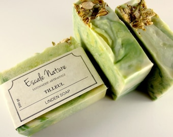 Liden soap, Artisan soap with olive oil, shea butter and goat milk, Handmade, Olive soap with liden flowers