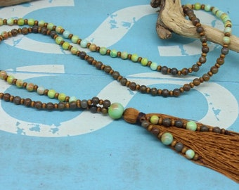 Mala Style necklace, turquoise, jasper