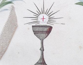 40s - Antique Holy Card - Communion Souvenir Handpainted Holy Card