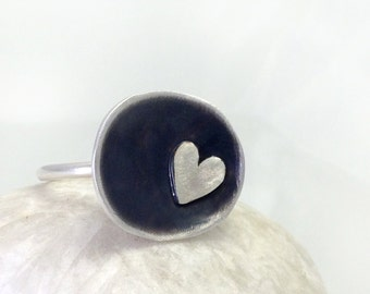 Oxidised silver Domed ring with a tiny heart