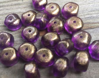 20 vintage lucite purple with gold round with six flat side beads