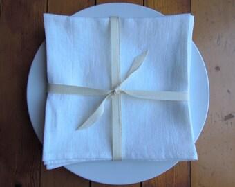 2 Linen Napkins, White, Table Linens, Set of 2, White Linen Napkins, Dinner Napkins Cloth