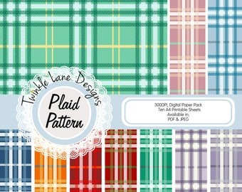 Digital Plaid Paper, Digital Paper, Festive Paper Pack, Festive Colours, Ten A4 Pages, Tartan, Backing Paper, Papercrafting, Printables