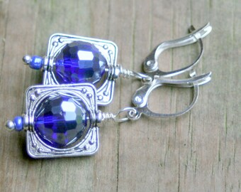 Simply square dangle earrings faceted blue crystal beads