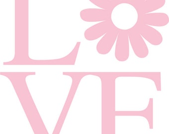 """Daisy Love Wall sticker.  Measures approximately 20"""" x 22""""  Shown in pink but choose your color."""