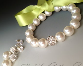 Ribbon Closure Pearl Bridemaids Bow Bracelet- Satin Ribbon in any color