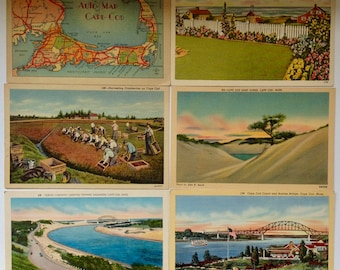 Cape Cod, Vintage Postcards, 1940's,  Post cards, Lot of six, Cape Cod Map, Cockle Cove, Bourne Bridge, Cape Cod Souvenir, Cape Cod kitsch