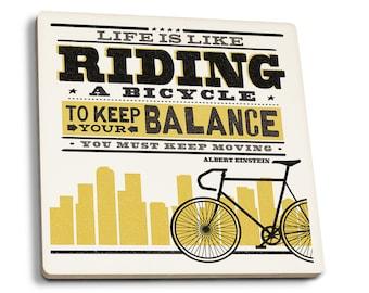 Life Riding Bicycle Screenprint Einstein LP Art (Set of 4 Ceramic Coasters)