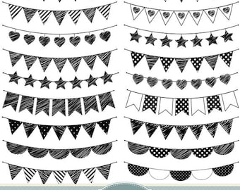 Doodle Bunting Clipart drapeaux Clipart Bunting Clip Art Garland Clipart Polka Dot coeurs rayures Invitations Scrapbooking bannière Clipart