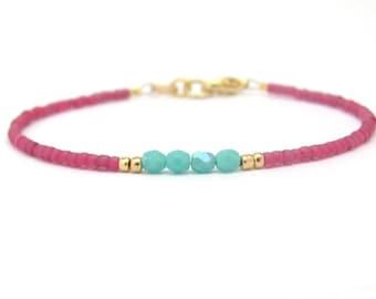 Dark Rose Turquoise Bracelet, Seed Bead Bracelet, Friendship Bracelet, Bridesmaid Gift, Minimal Bracelet, Fuchsia Bracelet, Hawaiian Jewelry