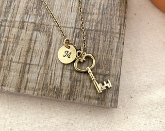 Key Necklace, Initial Necklace, Handstamped Necklace, Best friend Gift, Bridesmaid Gift, Victoria  Key Necklace, Bronze Key
